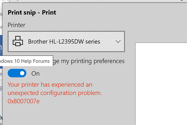 printer experience an Unexpected Configuration Problem